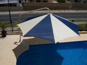 Umbrella pool and paving